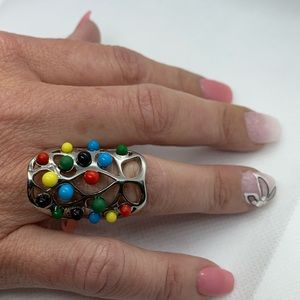 Multi Color Chroma Ring in Stainless Steel Size 10